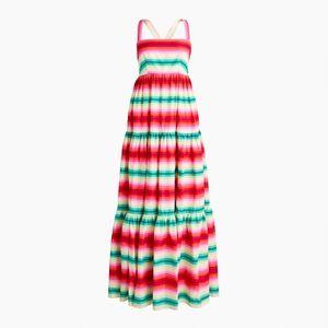 J Crew Tiered Maxi Dress in Stripe